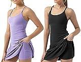 Genericd Vestido de tenis para mujer, 2 piezas, para entrenamiento, espalda cruzada, con bolsillos cortos, para golf, yoga, deportes, B, L