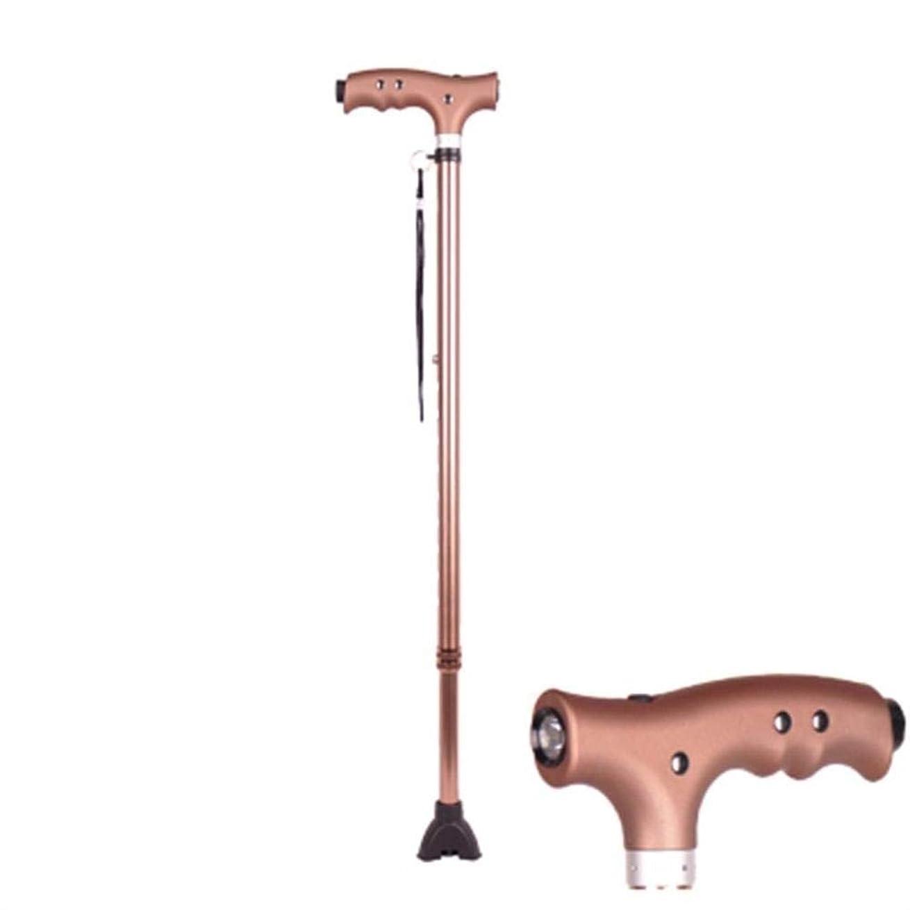 水差し流星インチ高齢者のための松葉杖-高齢者のための杖-伸縮式-安定-滑り止め-軽量-負傷者のためのLedライト、茶色の杖で高さ調整可能-Ol用松葉杖