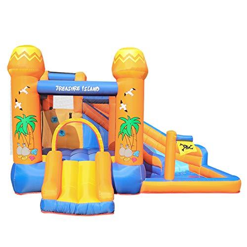 WANGZI Casa de rebote inflable, castillo de salto, gran centro de juego de agua inflable con ventilador de 450 W y bolsa de almacenamiento para niños al aire libre jardín