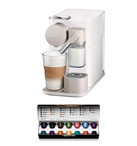 Nespresso De'Longhi Lattissima One EN500W-Cafetera monodosis de cápsulas Nespresso con depósito de leche compacto, 19 bares, apagado automático color blanco, Incluye pack de bienvenida con 14 cápsulas