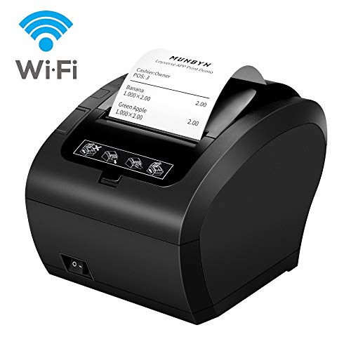 MUNBYN Impresora de Ticket Térmica WiFi, Impresora de Recibos 80mm, Ticketera Velocidad 300mm/s ESC/POS Compatible con Android/Windows, Negra