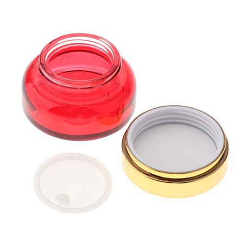 30 50g Botella de Crema Vacía de Vidrio Frasco de Humectante Contenedor de Bálsamo Labial Envase de Cosméticos - 30g, Rojo Dorado