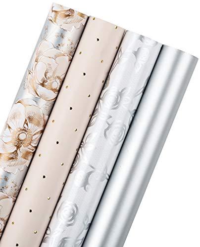 RUSPEPA Geschenkpapierrolle - Silber Und Pink Set Für Geburtstag, Urlaub, Hochzeit, Babyparty Geschenkverpackung - 4 Rollen - 76 X 305 cm Pro Rolle