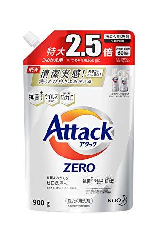 【大容量】アタック ゼロ(ZERO) 洗濯洗剤(Laundry Detergent) 詰め替え 900g (清潔実感! 洗うたび白さよみがえる)