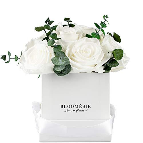 BLOOMÉSIE Duftende Rosenbox mit Eukalyptus l 7-9 Infinity Rosen (weiß) l Flowerbox...