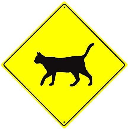 Vivityobert - Cartello in metallo con simbolo di gatto con scritta in lingua inglese 'Feline Crossing Animal', in alluminio, 30,5 x 30,5 cm