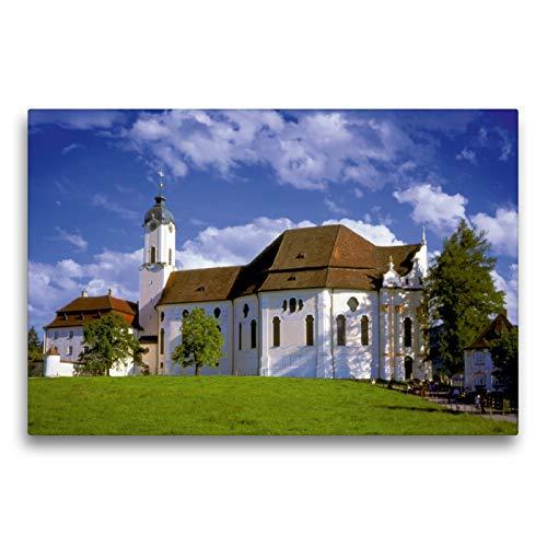 Calvendo Premium Textil-Leinwand 75 cm x 50 cm quer, Wallfahrtskirche Die Wies, Kunstwerk Bayrisches...