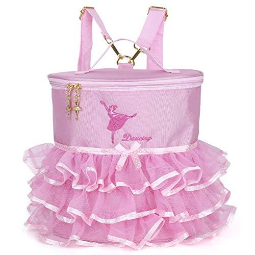Debbieicy Cute Ballet Dance Backpack Tutu Dress Dance Bag for Girls (Pink)