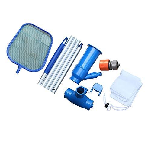 LIUZKH Kit de limpieza al vacío de la piscina Mini Aspirador Piscina Spa Vacío Jet Limpieza Herramienta Cabeza Manual Pesca Red Conjunto de herramientas EU