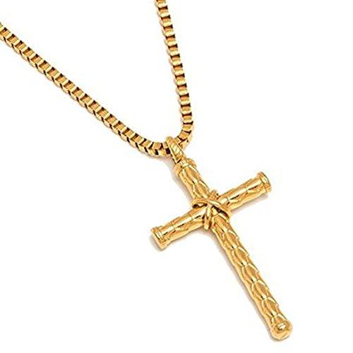 AIUIN - Collar con colgante de cruz chapado en oro y acero inoxidable para hombre, con bolsa de joyería