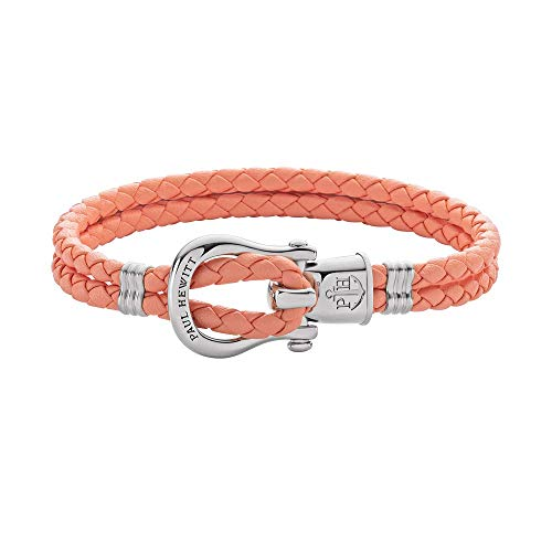 PAUL HEWITT Schäkel Armband Damen PHINITY - Leder Armband Frauen (Apricot), Armband Damen mit Schäkel Verschluss aus Edelstahl (Silber)