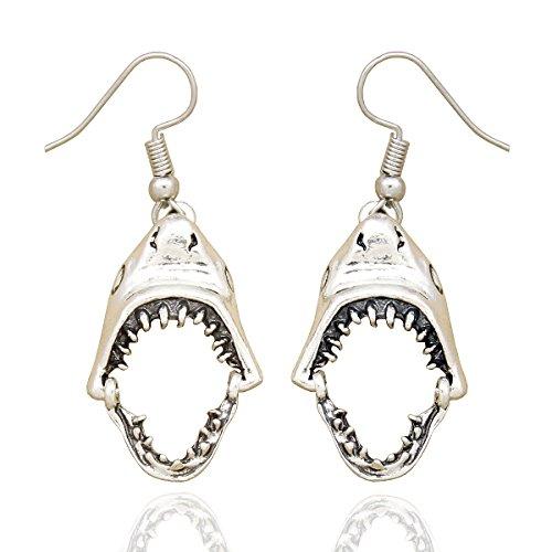 RechicGu Ohrringe, Form - geöffnetes Haifischmaul inkl. Zähnen, modischer Ohrschmuck