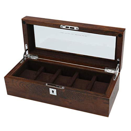 GQSHK GQSHK Holz Uhrenbox Glasdeckel 5 Uhren Schmuck Display Aufbewahrungsbox Armband Tablett mit 5 abnehmbaren Aufbewahrungskissen und abschließbarem Metallschloss