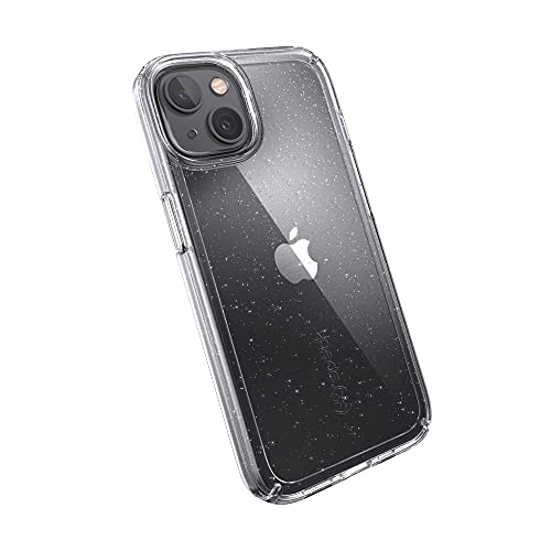 Speck Products Gemshell Glitter iPhone 13 Case, Clear/Clear with Platinum Glitter