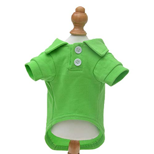 Lovelonglong Basic Dog Polo Shirts Premium Cotton, Polo T-Shirts for Large Medium Small Dogs with a Two-Button Collar Blank Color Green XL
