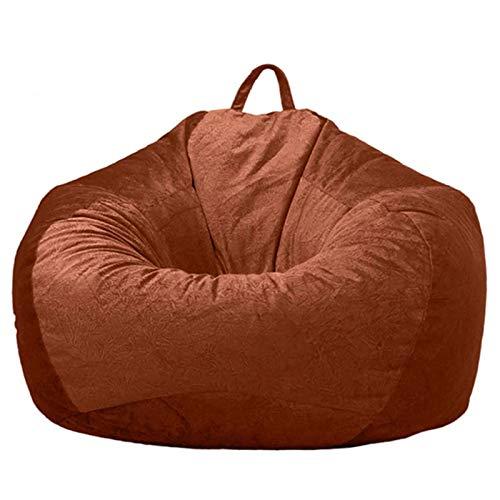 YFYTYG-PX Funda De Puf, Puf Gigante Funda De Puff Material De Pelo Corto Suave Funda De Puff Grande Sofá para Exterior E Interior Sin Relleno,Marrón,XL: 100x120cm