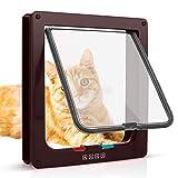 Sailnovo Katzenklappe Hundeklappe 4 Wege Magnet-Verschluss für Katzen und kleine Hunde - Hundetür Katzentür Haustierklappe (M, Braun)