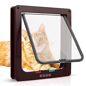 Chatière pour Chat avec magnétique à 4 voies, porte pour animaux de compagnie pour chats et petits chiens, porte pour chat avec tunnel