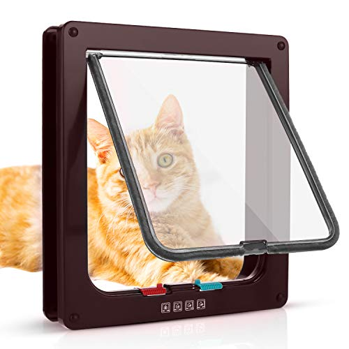 Sailnovo Katzenklappe Hundeklappe 19*20*5.5cm 4 Wege Magnet-Verschluss für Katzen und kleine Hunde - Hundetür Katzentür Haustierklappe (M, Braun)