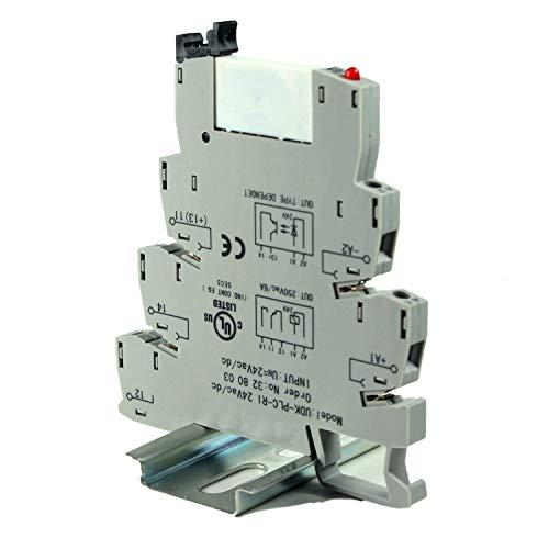ASI ASI328003 24Vac/dc Pluggable SPDT Relay with DIN Rail Mount Screw Clamp Terminal Block Base, 6 amp, 250 VAC Rating, 24 VAC/DC Coil