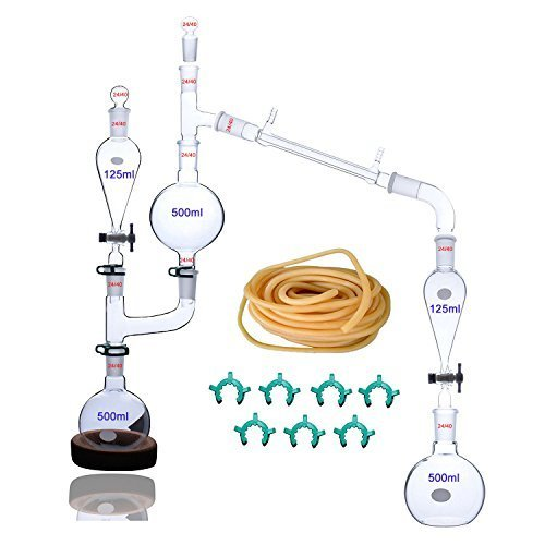 25 Pcs New Lab Essential Oil Steam Distillation Apparatus Glassware Kits Water Distiller Purifier w/Separators Funnel