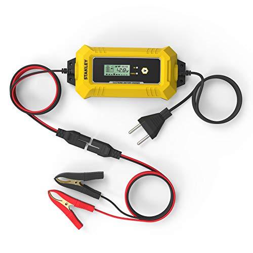 Stanley SXAE00026GB Cargador de batería, microprocesador Inteligente, 8 A, 12 V, Enchufe Europeo, Negro, 8A-12V
