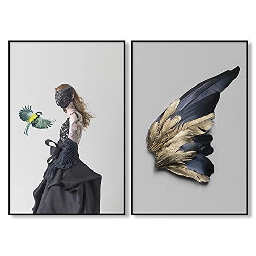 Póster de imagen de ala dorada de mujer negra, arte de pared, lienzo, pintura para niñas, sala de estar, decoración del hogar, 20x28 pulgadas x 2 piezas sin marco