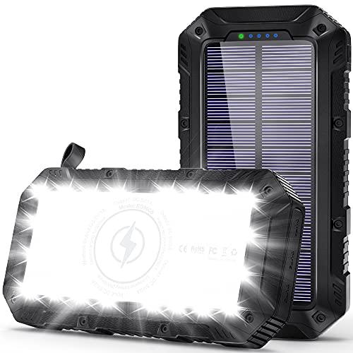 Powerbank Solare 26800mAh, Caricabatterie Solare Portatile Wireless 28 LED IP65 Impermeabile Esterna 3USB Porte 4.1A,Caricabatterie Solare Portatile Ricarica Rapida per IOS Android Tavoletta