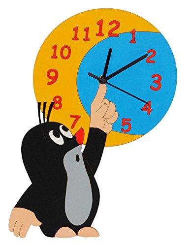 alles-meine.de GmbH Wanduhr - lautlos - der kleine Maulwurf - Pauli - mit Mond - Uhr aus Holz - für Jungen Mädchen Kinder / Kinderzimmer Kinderuhr Uhren Quarz Maulwürfe
