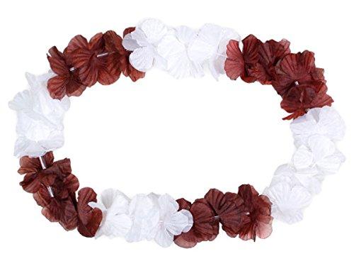 Lot de 12 collier Hawaïen BLANC MARRON HK-32 textile hawaien Hawaï hawaii Hula fleur pétale ambiance tropique déguisement fête beach party été plage printemps accessoire fête mariage anniversaire festival évenement vacance femme homme jeune enfant