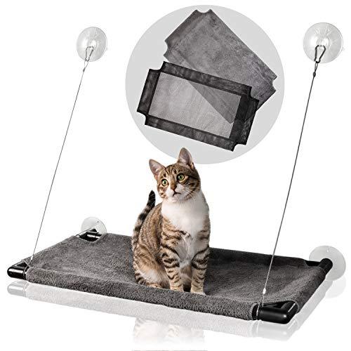 Bella & Balu Katzen Fensterplatz – Die Katzenhängematte mit wechselbarem Sommer- und Winter Bezug bietet jeder Katze einen spannenden Mausblick am Fenster. Belastbar, sicher & einfach zu reinigen