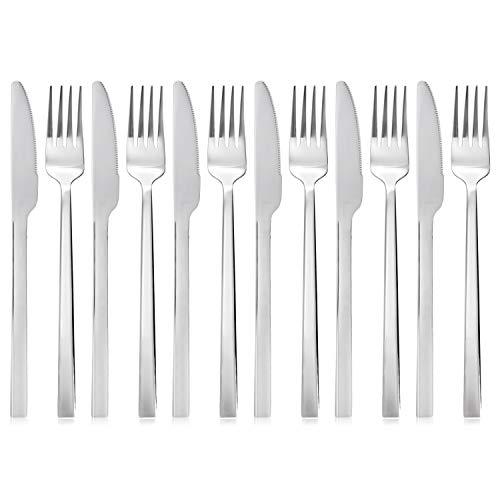 QUCHER 18/8 pièces acier inoxydable Couverts , 6 x couteaux de table - 6 x fourchettes, faciles d'entretien et sûr pour le lave-vaisselle