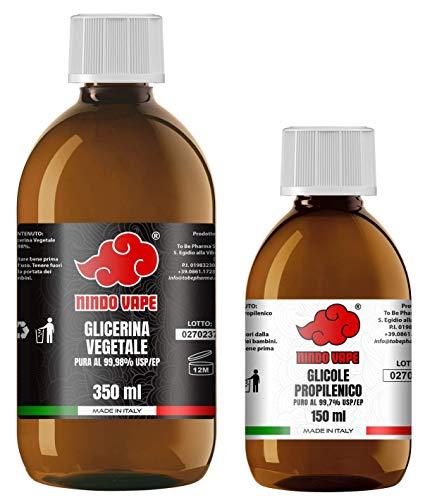 NINDO Kit Base Neutra 500ml 70VG/30PG | Glicerina Vegetale (99,98%) + Glicole Propilenico (99,7%) | 100% Made in Italy | Privo di OGM e Allergeni | Grado Farmaceutico Certificato