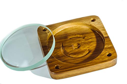 Bruce Charles Designs Spinning Top Base - Precision-Machined Teak Top Spinning Base and Fused Silica Spinning Glass Double Concave Lens 100mm/4 Dia 300mm Focal Length - Best EDC Spin Top Lovers Gift