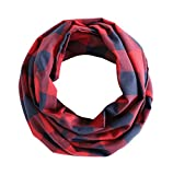 Radiant & Resilient Women Cotton Infinity Scarf, Plaid Infinity Scarf (Red/Dark Blue)
