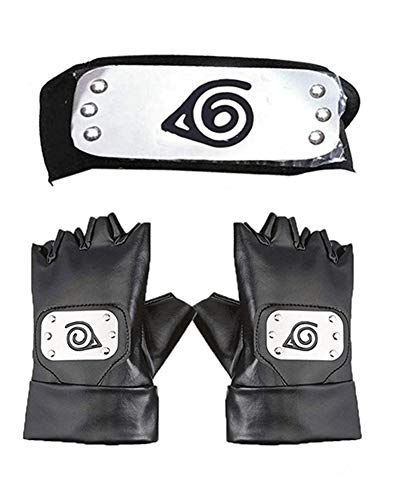 Diadema Ninja, Master Online Leaf Village y guantes de cosplay Hatake Kakashi Ninja Cosplay Accesorios (negro)