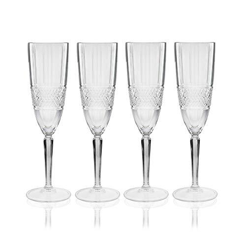 Maxwell & Williams - Flute da champagne in vetro tagliato Verona, in confezione regalo, in vetro cristallino, set da 4