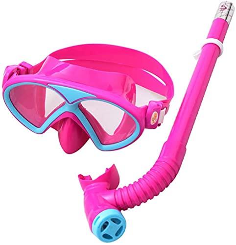 Goggles Mascara Buceo Sisting Set Niños Anti-Niebla Máscara de Buceo para niños Natación Gafas Snorkel Engranaje con Tubo de respiración para niños y niñas 5-8 años (Color : Pink)