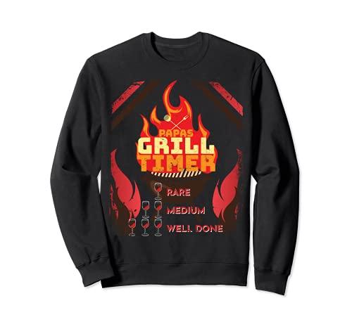 Papas Grill Timer, lustiges Steak grillen, Vater und Wein Sweatshirt