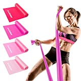 Resistance Bands Set, 4 Pack Latex Elastic Bands with 4 Resistance Levels, 6 ft. Long Stretch Bands for Physical Therapy, Yoga, Pilates, Rehab, at-Home or The Gym Workouts, Strength Training (Red)