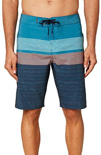 O'NEILL Men's Water Resistant Hyperfreak Stretch Swim Boardshorts, 21 Inch Outseam (Ocean/Heist, 33)