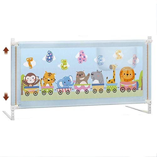 BDD Bed Rail Baby Child Bed Guardrail Bed Baffle Universal Bed Height Free Adjustment 72-90Cm Smart Button,Blue,L-180Cm