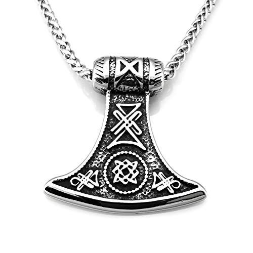 URBANTIMBER Edelstahl Halskette Odin's Axt mit keltischen Knoten