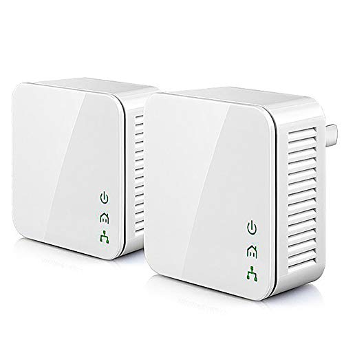 ZXCV Adaptador 1pair Mini 200Mbps Power Line Ethernet, Adaptador PLC, Compatible con el Wireless Router WiFi, IPTV,White,1Pair