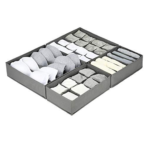 4er Set Oxford Stoff Kleiderschrank Organizer Unterwäsche Organizer Box mit Verbreitert Zelle , Faltbar Schubladen Ordnungssystem kleiderschrank Unterwäsche Aufbewahrungsbox BH Socken , Grau , Highkit