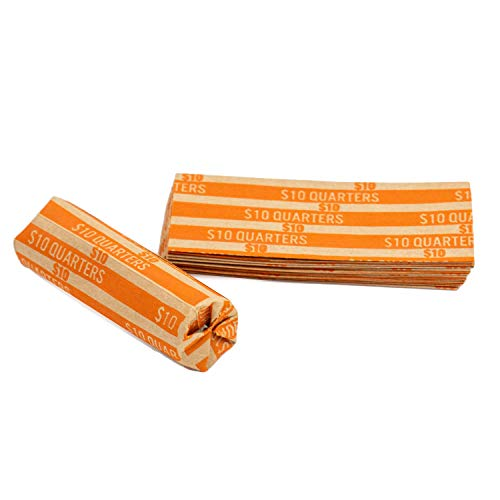 Quarter Flat Striped Coin Wrappers, Bundle of 100
