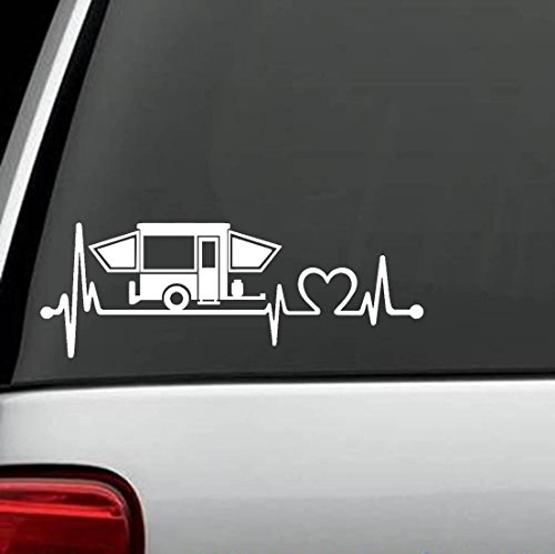 Bluegrass Decals K1150 Pop Up Camper Travel Trailer Heartbeat Lifeline 8 Inch Decal Sticker