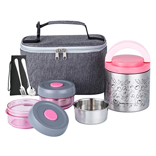 Lille Home Lunch Box Set, An Vacuum Insulated Bento/Snack Box Keeping Food Warm for 4-6 Hours, Two BPA-Free Food Containers, A Lunch Bag, A Portable Cutlery Set, Smart Diet, Weight Control (Pink)
