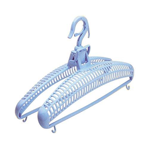 TRI Trockenbügel 2 Stück, Bügel zum Trocknen, Kleiderbügel, Luftbügel, formschonend, windsicher, ausziehbar, Kunststoff, 40 cm, blau