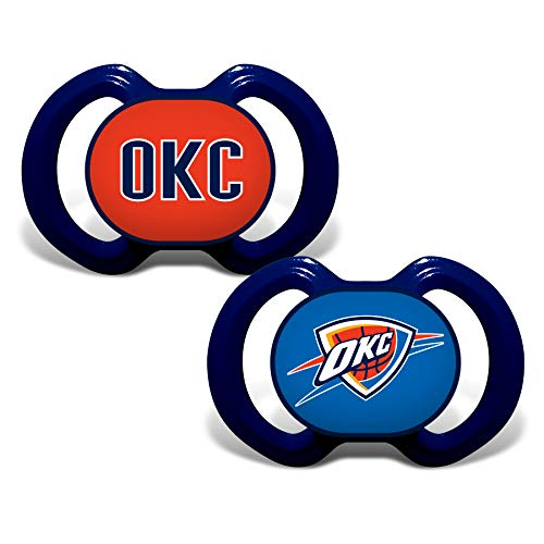 Baby Fanatic NBA Legacy Infant Pacifiers, Oklahoma City Thunder, 2 Pack